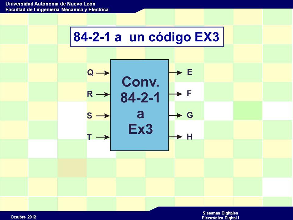 Octubre 2012 Sistemas Digitales Electrónica Digital I Universidad Autónoma de Nuevo León Facultad de I ingeniería Mecánica y Eléctrica 84-2-1 a un código EX3