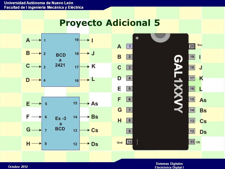 Octubre 2012 Sistemas Digitales Electrónica Digital I Universidad Autónoma de Nuevo León Facultad de I ingeniería Mecánica y Eléctrica Proyecto Adicional 5