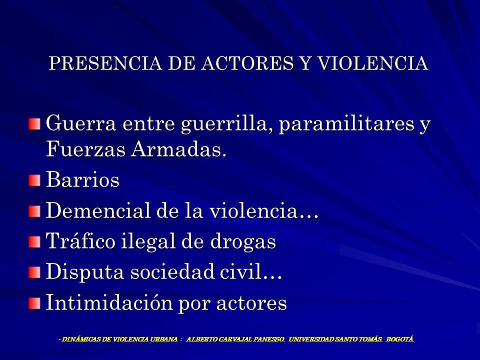 PRESENCIA DE ACTORES Y VIOLENCIA Guerra entre guerrilla, paramilitares y Fuerzas Armadas. Barrios Demencial de la violencia… Tráfico ilegal de drogas