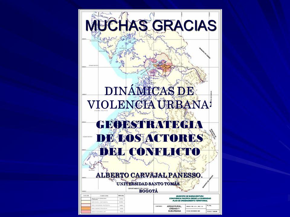 MUCHAS GRACIAS DINÁMICAS DE VIOLENCIA URBANA: GEOESTRATEGIA DE LOS ACTORES DEL CONFLICTO ALBERTO CARVAJAL PANESSO. ALBERTO CARVAJAL PANESSO. UNIVERSID