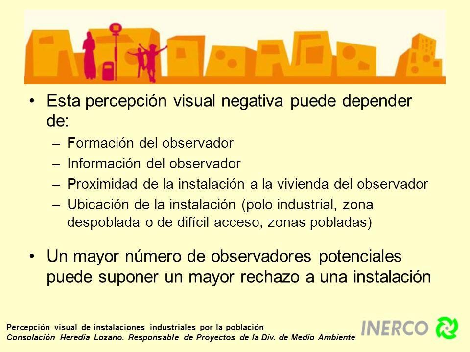 Esta percepción visual negativa puede depender de: –Formación del observador –Información del observador –Proximidad de la instalación a la vivienda d
