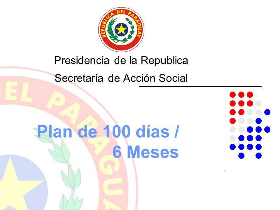 Plan de 100 días / 6 Meses Presidencia de la Republica Secretaría de Acción Social