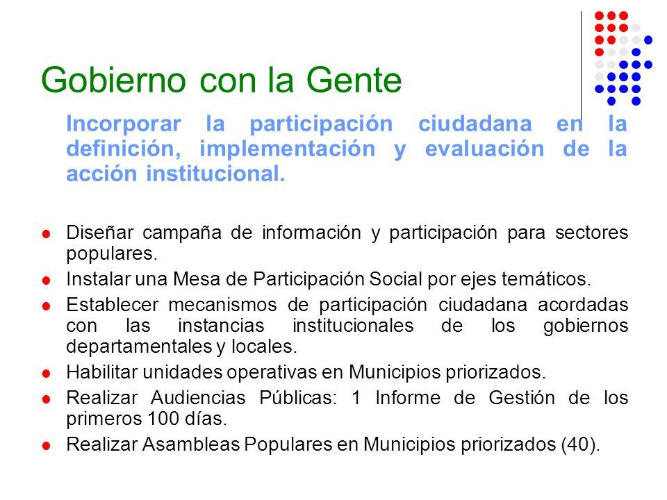 Gobierno con la Gente Incorporar la participación ciudadana en la definición, implementación y evaluación de la acción institucional. Diseñar campaña