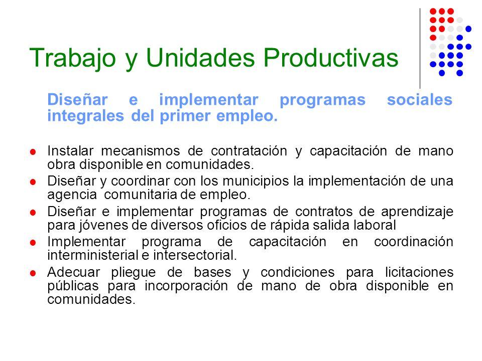 Trabajo y Unidades Productivas Diseñar e implementar programas sociales integrales del primer empleo. Instalar mecanismos de contratación y capacitaci