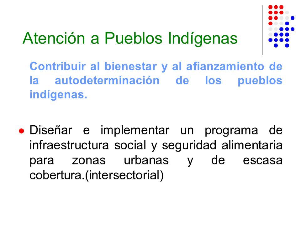 Atención a Pueblos Indígenas Contribuir al bienestar y al afianzamiento de la autodeterminación de los pueblos indígenas. Diseñar e implementar un pro