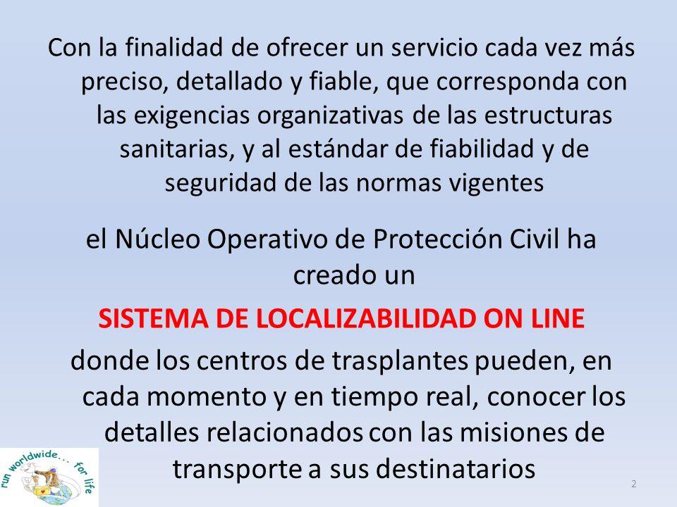el Núcleo Operativo de Protección Civil ha creado un SISTEMA DE LOCALIZABILIDAD ON LINE 2 Con la finalidad de ofrecer un servicio cada vez más preciso