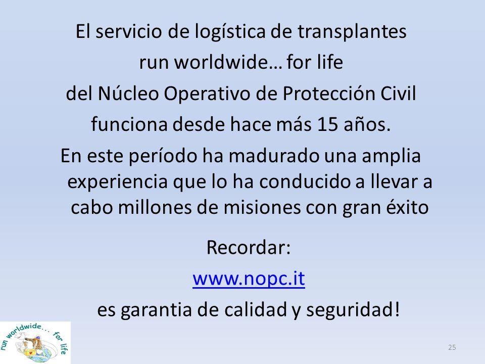 El servicio de logística de transplantes run worldwide… for life del Núcleo Operativo de Protección Civil funciona desde hace más 15 años. En este per