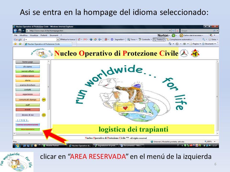 Asi se entra en la hompage del idioma seleccionado: 6 clicar en AREA RESERVADA en el menú de la izquierda
