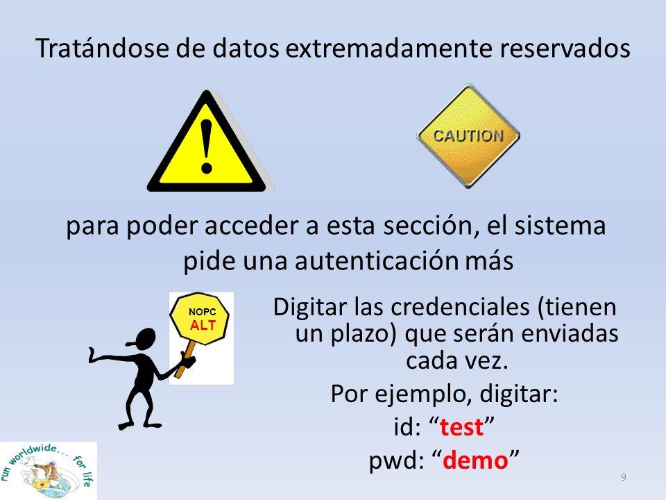 Tratándose de datos extremadamente reservados 9 para poder acceder a esta sección, el sistema pide una autenticación más Digitar las credenciales (tie
