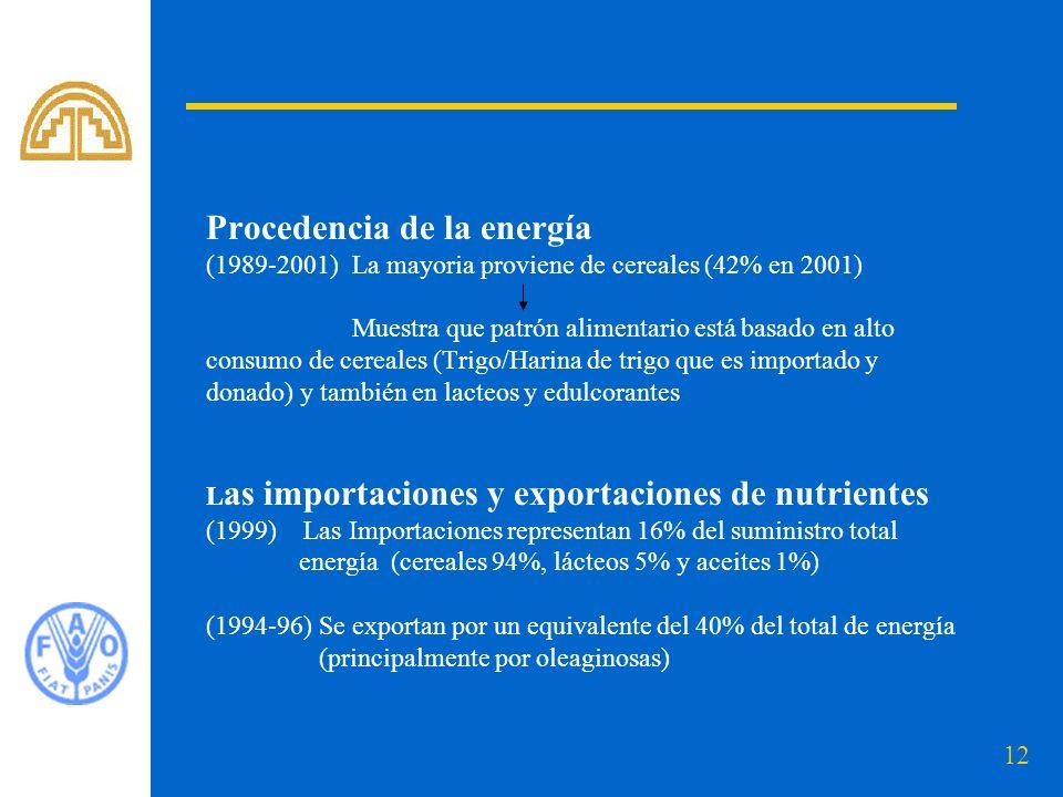12 Procedencia de la energía (1989-2001) La mayoria proviene de cereales (42% en 2001) Muestra que patrón alimentario está basado en alto consumo de cereales (Trigo/Harina de trigo que es importado y donado) y también en lacteos y edulcorantes L as importaciones y exportaciones de nutrientes (1999) Las Importaciones representan 16% del suministro total energía (cereales 94%, lácteos 5% y aceites 1%) (1994-96) Se exportan por un equivalente del 40% del total de energía (principalmente por oleaginosas)