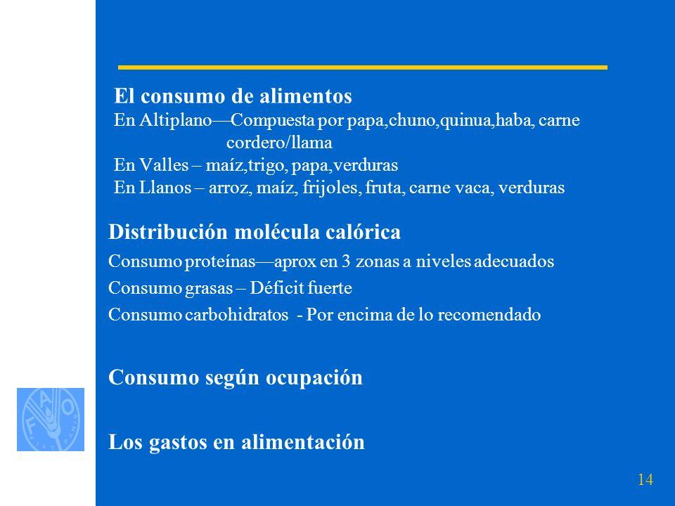 14 El consumo de alimentos En AltiplanoCompuesta por papa,chuno,quinua,haba, carne cordero/llama En Valles – maíz,trigo, papa,verduras En Llanos – arroz, maíz, frijoles, fruta, carne vaca, verduras Distribución molécula calórica Consumo proteínasaprox en 3 zonas a niveles adecuados Consumo grasas – Déficit fuerte Consumo carbohidratos - Por encima de lo recomendado Consumo según ocupación Los gastos en alimentación