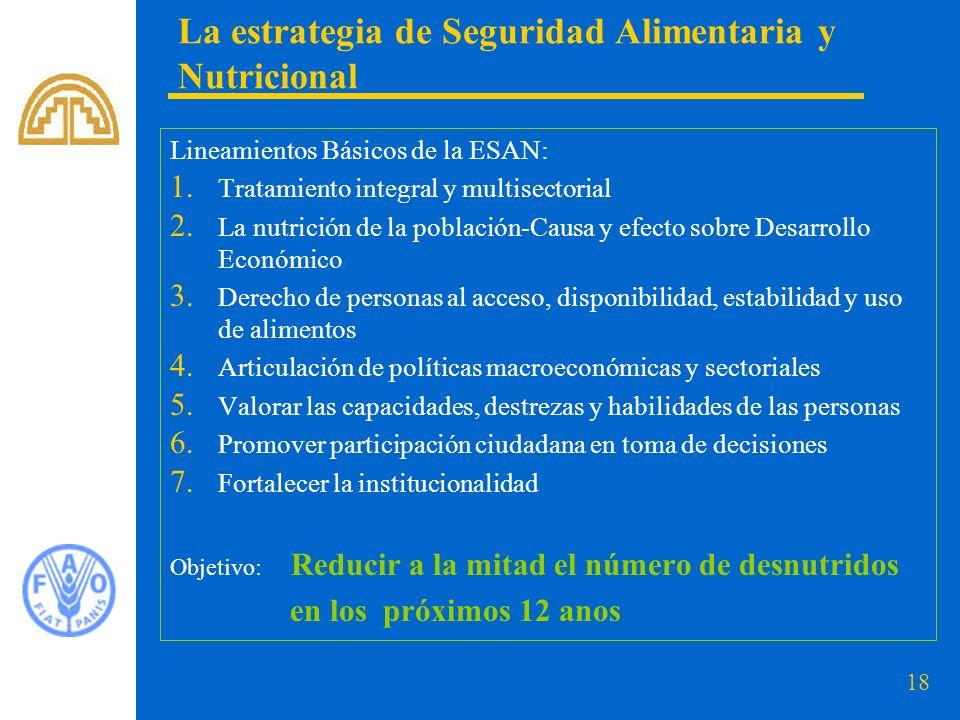 18 La estrategia de Seguridad Alimentaria y Nutricional Lineamientos Básicos de la ESAN: 1.