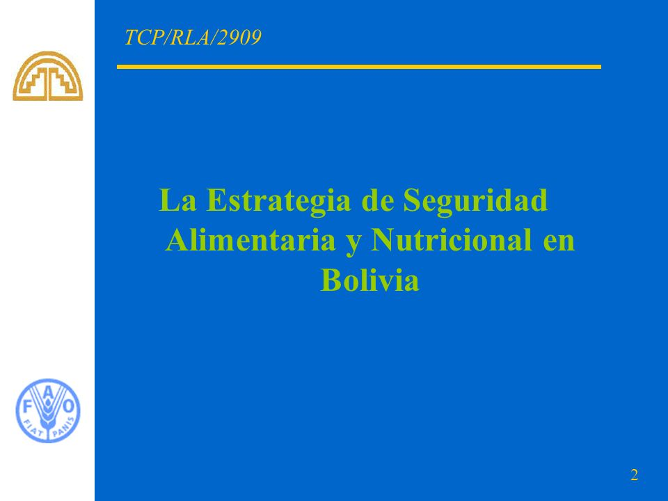 2 TCP/RLA/2909 La Estrategia de Seguridad Alimentaria y Nutricional en Bolivia