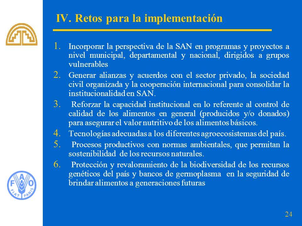 24 IV.Retos para la implementación 1.