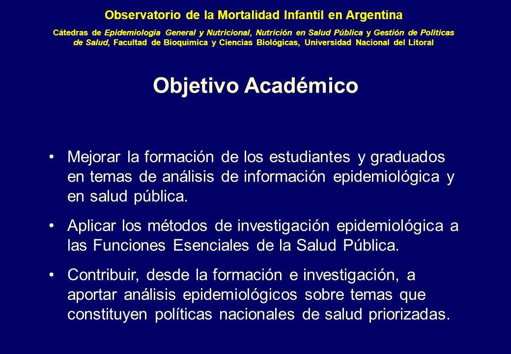 Objetivo Académico Mejorar la formación de los estudiantes y graduados en temas de análisis de información epidemiológica y en salud pública.