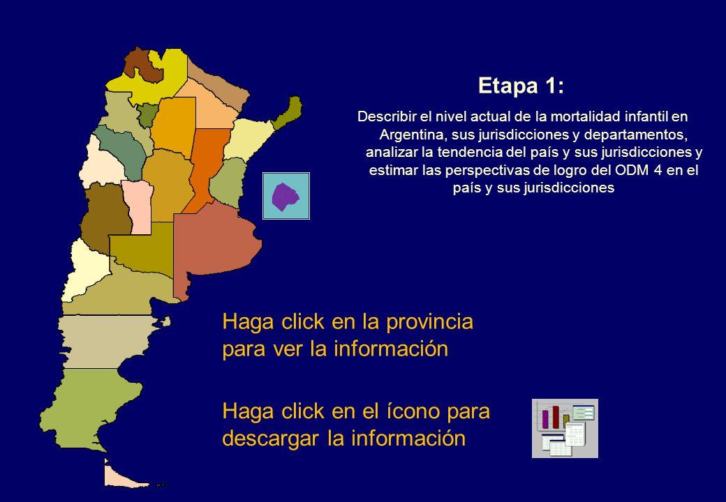 Haga click en la provincia para ver la información Etapa 1: Describir el nivel actual de la mortalidad infantil en Argentina, sus jurisdicciones y departamentos, analizar la tendencia del país y sus jurisdicciones y estimar las perspectivas de logro del ODM 4 en el país y sus jurisdicciones Haga click en el ícono para descargar la información