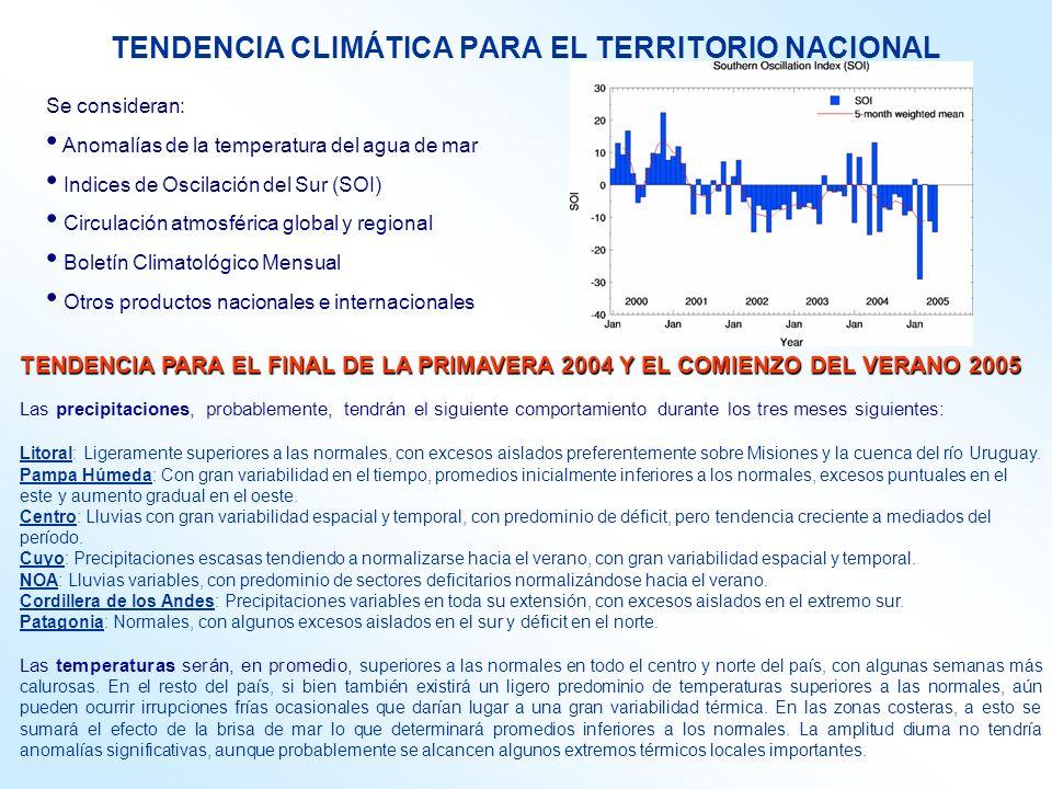 TENDENCIA PARA EL FINAL DE LA PRIMAVERA 2004 Y EL COMIENZO DEL VERANO 2005 Las precipitaciones, probablemente, tendrán el siguiente comportamiento durante los tres meses siguientes: Litoral: Ligeramente superiores a las normales, con excesos aislados preferentemente sobre Misiones y la cuenca del río Uruguay.
