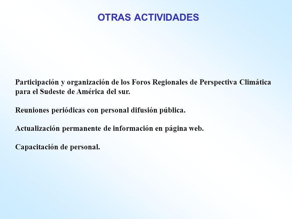 Participación y organización de los Foros Regionales de Perspectiva Climática para el Sudeste de América del sur.