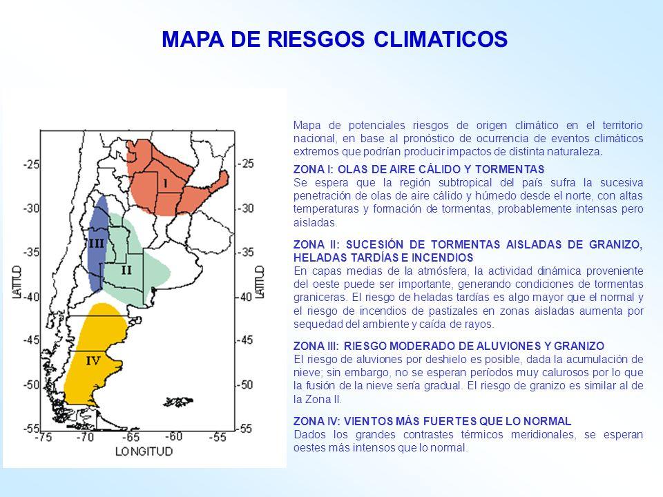 Mapa de potenciales riesgos de origen climático en el territorio nacional, en base al pronóstico de ocurrencia de eventos climáticos extremos que podrían producir impactos de distinta naturaleza.