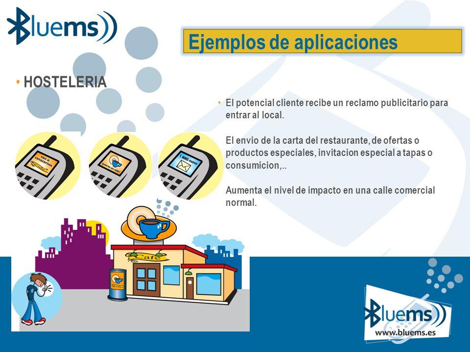 Ejemplos de aplicaciones HOSTELERIA El potencial cliente recibe un reclamo publicitario para entrar al local.