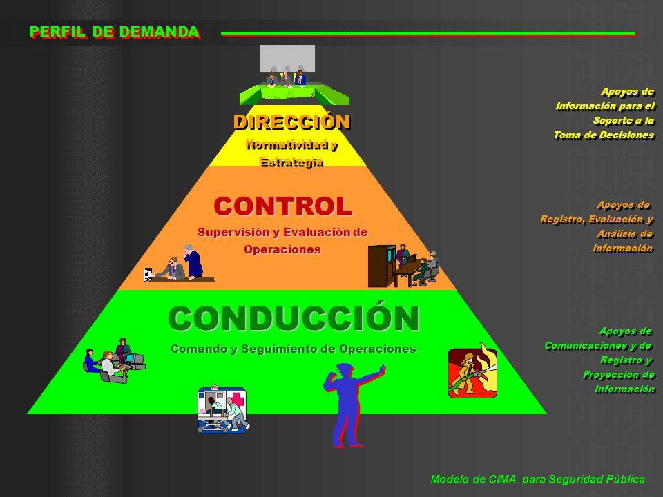 PERFIL DE DEMANDA CONDUCCIÓN Comando y Seguimiento de Operaciones CONTROL Supervisión y Evaluación de Operaciones DIRECCIÓN Normatividad y Estrategia