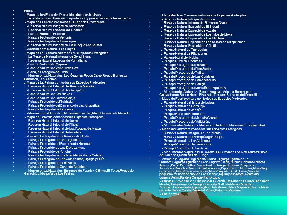 Índice....- Mapa de los Espacios Protegidos de todas las islas..- Las siete figuras diferentes de protección y preservación de los espacios..- Mapa de