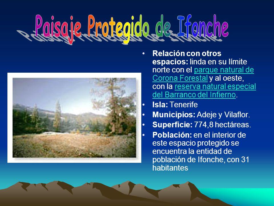 Relación con otros espacios: linda en su límite norte con el parque natural de Corona Forestal y al oeste, con la reserva natural especial del Barranc