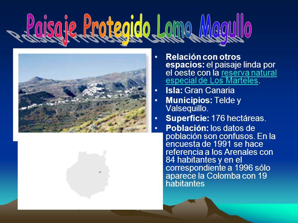 Relación con otros espacios: el paisaje linda por el oeste con la reserva natural especial de Los Marteles.reserva natural especial de Los Marteles Is