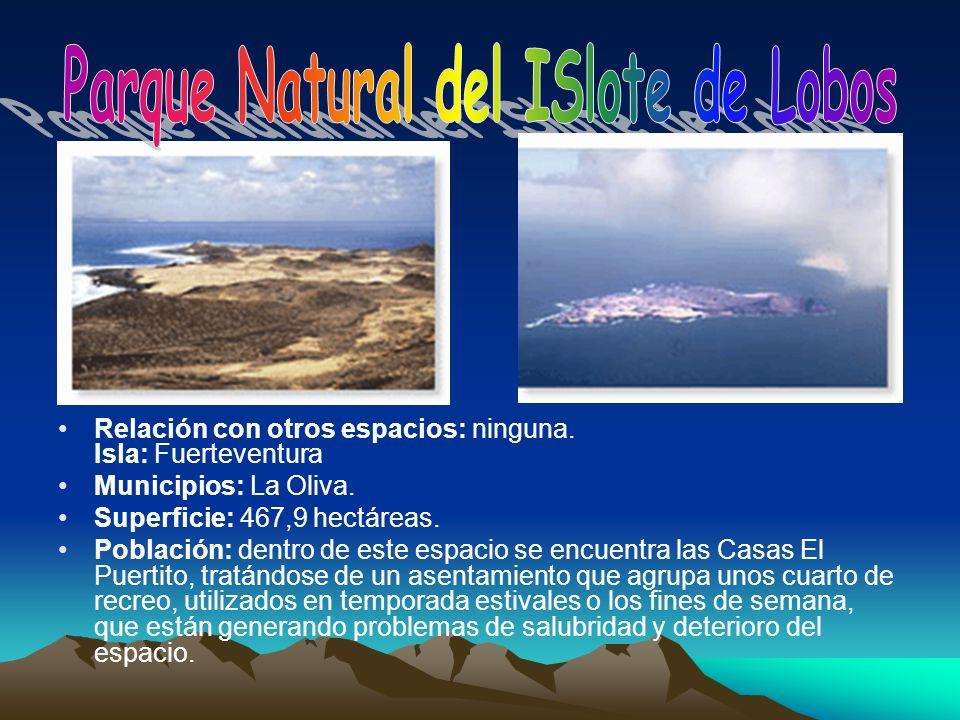 Relación con otros espacios: ninguna. Isla: Fuerteventura Municipios: La Oliva. Superficie: 467,9 hectáreas. Población: dentro de este espacio se encu