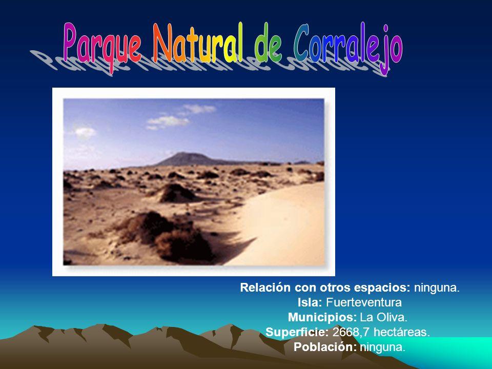 Relación con otros espacios: ninguna. Isla: Fuerteventura Municipios: La Oliva. Superficie: 2668,7 hectáreas. Población: ninguna.