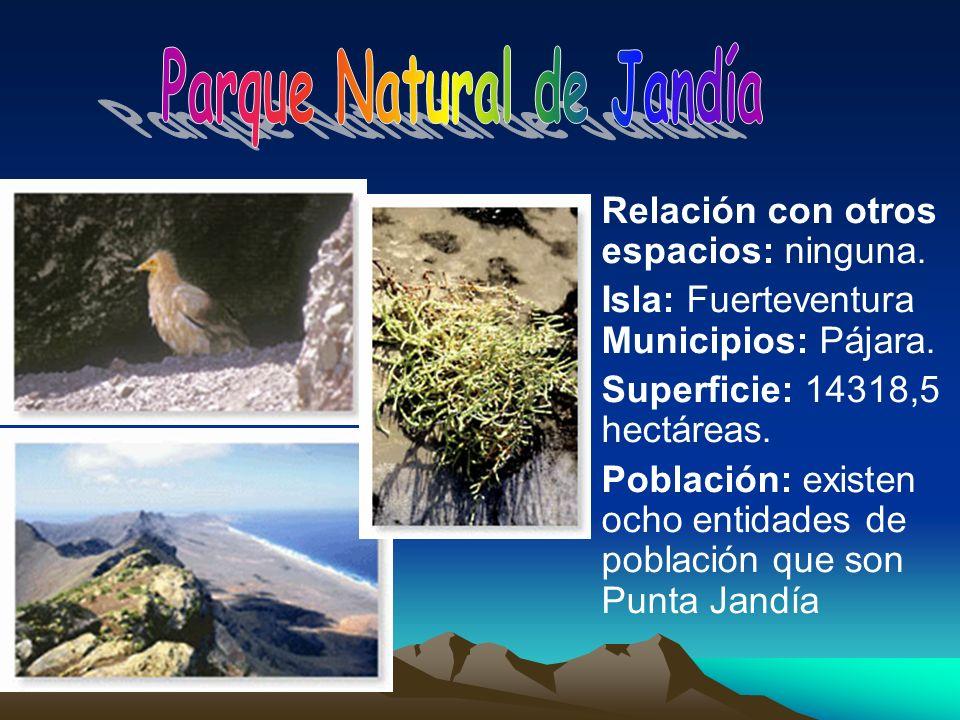 Relación con otros espacios: ninguna. Isla: Fuerteventura Municipios: Pájara. Superficie: 14318,5 hectáreas. Población: existen ocho entidades de pobl