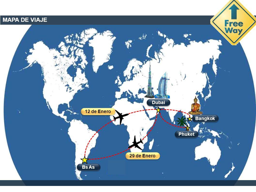 MAPA DE VIAJE Dubai Bs As Phuket Bangkok 12 de Enero 29 de Enero