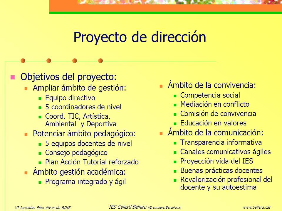 VI Jornadas Educativas de BIHE www.bellera.cat IES Celestí Bellera (Granollers, Barcelona) Proyecto de dirección Ámbito de la convivencia: Competencia