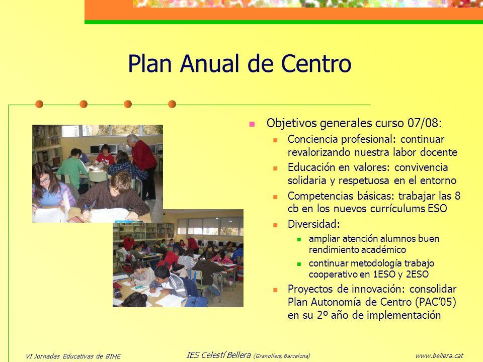 VI Jornadas Educativas de BIHE www.bellera.cat IES Celestí Bellera (Granollers, Barcelona) Plan Anual de Centro Objetivos generales curso 07/08: Conci
