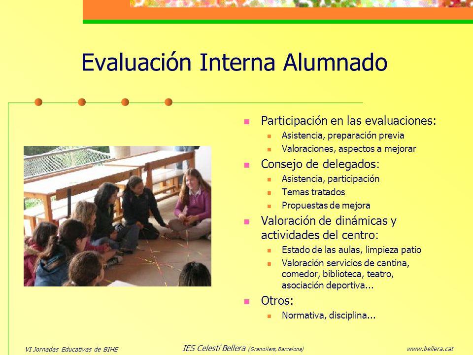 VI Jornadas Educativas de BIHE www.bellera.cat IES Celestí Bellera (Granollers, Barcelona) Evaluación Interna Alumnado Participación en las evaluacion
