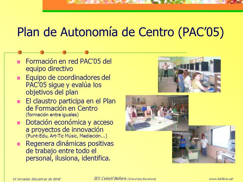VI Jornadas Educativas de BIHE www.bellera.cat IES Celestí Bellera (Granollers, Barcelona) Plan de Autonomía de Centro (PAC05) Formación en red PAC05