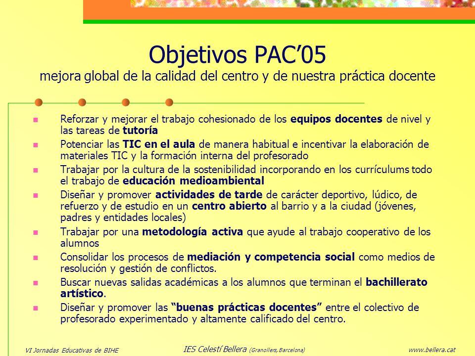 VI Jornadas Educativas de BIHE www.bellera.cat IES Celestí Bellera (Granollers, Barcelona) Objetivos PAC05 mejora global de la calidad del centro y de