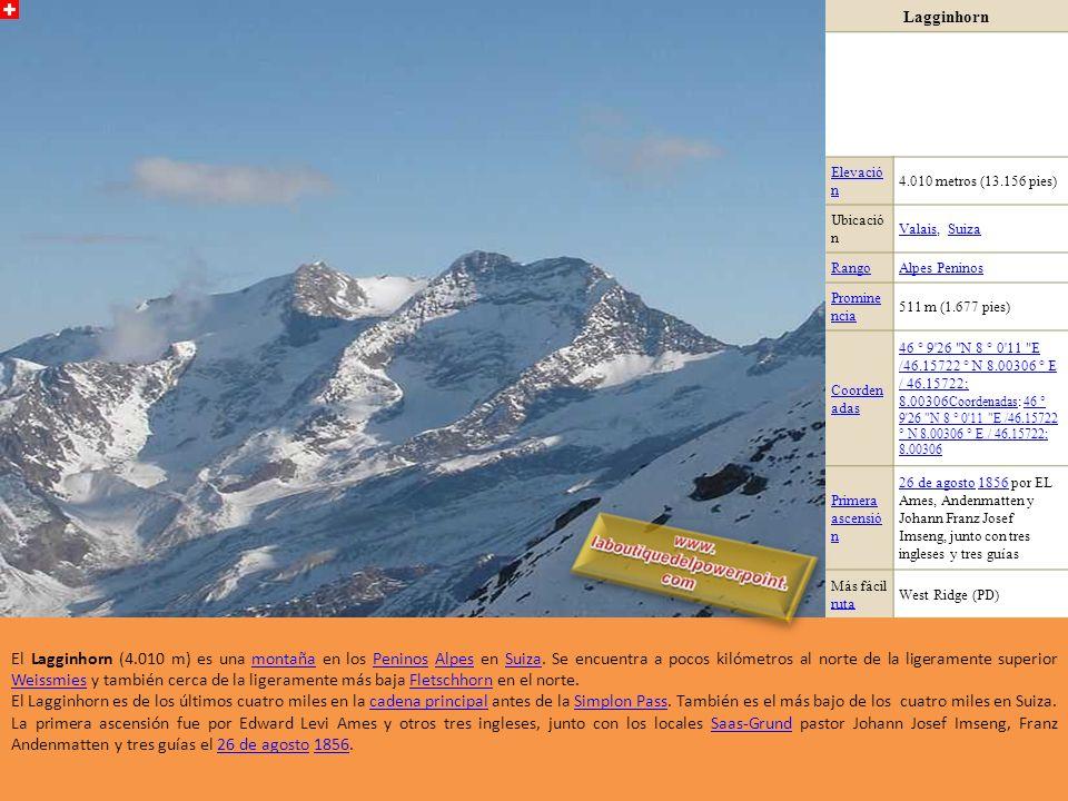 Finsteraarhorn Elevación4.274 Ubicación Suiza Cordillera Alpes berneses Alpes berneses (Alpes)Alpes Prominencia2.280 Coordenadas 46°32N 8°08E / 46.533