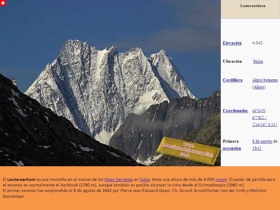 Jungfrau Elevación4.158 Ubicación Suiza Cordillera Alpes berneses Alpes berneses (Alpes)Alpes Coordenadas 46°33N 7°58E / 46.55, 7.967 Primera ascensió