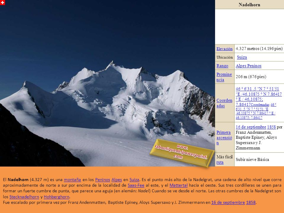 Dufour Elevación4.634 Ubicación Suiza Cordillera Monte Rosa Monte Rosa (Alpes peninos)Alpes peninos Coordenadas 45°55N 7°53E / 45.917, 7.883 Primera a