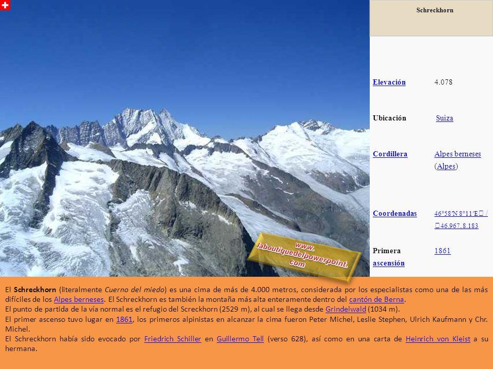 Roccia Nera Elevaci ón 4.075 metros (13.369 pies) Ubicaci ón SuizaSuiza--ItaliaItalia RangoAlpes Peninos Coorde nadas 45 ° 55'57
