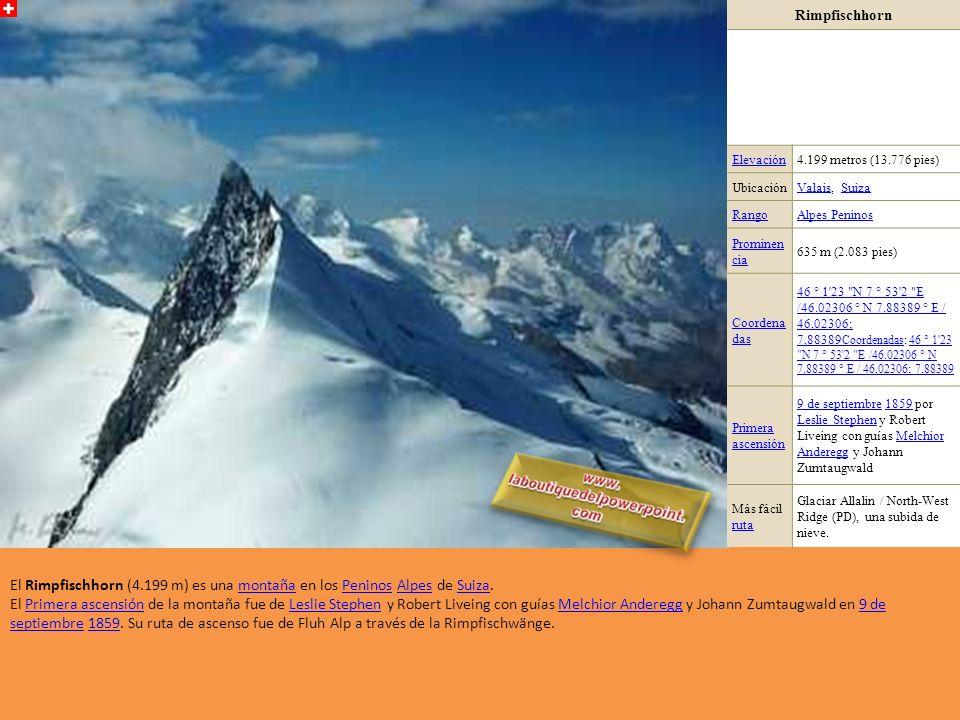 Zumsteinspitze / Punta Zumstein Elevación4.563 metros (14.970 pies) Ubicación PiamontePiamonte, Italia / Valais, SuizaItalia ValaisSuiza RangoAlpes Pe