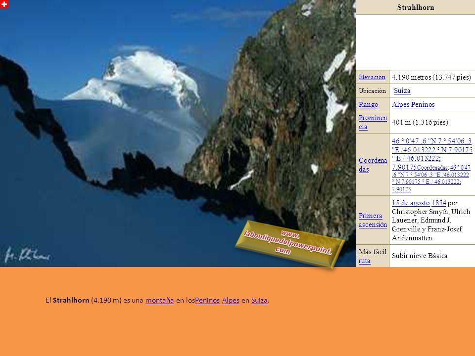 Rimpfischhorn Elevación4.199 metros (13.776 pies) UbicaciónValaisValais, SuizaSuiza RangoAlpes Peninos Prominen cia 635 m (2.083 pies) Coordena das 46