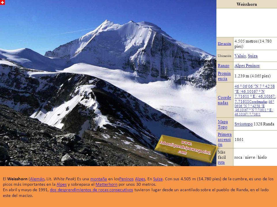 Strahlhorn Elevación 4.190 metros (13.747 pies) Ubicación Suiza RangoAlpes Peninos Prominen cia 401 m (1.316 pies) Coordena das 46 ° 0'47.6