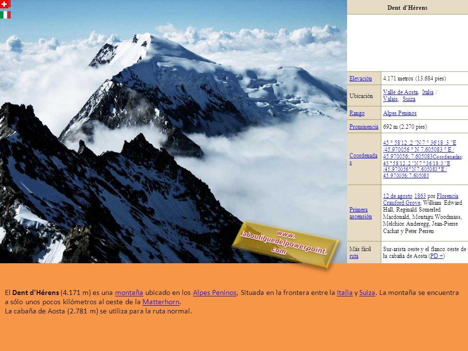 Weisshorn Elevación 4.505 metros (14.780 pies) Ubicación ValaisValais, SuizaSuiza RangoAlpes Peninos Promin encia 1.239 m (4.065 pies) Coorde nadas 46