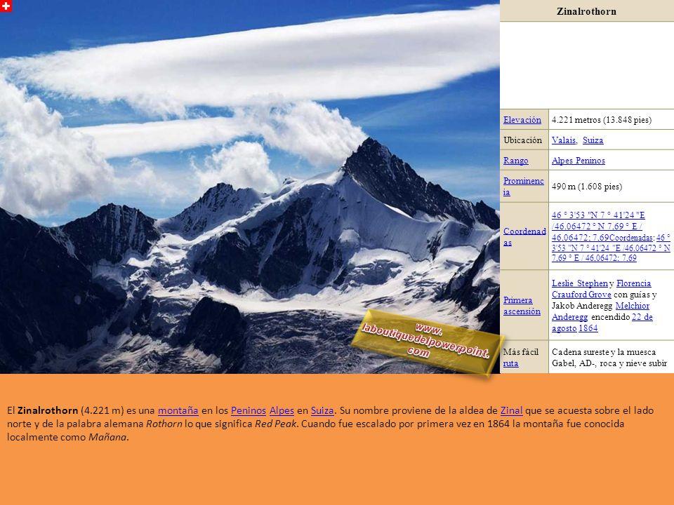 Dent d'Hérens Elevación4.171 metros (13.684 pies) Ubicación Valle de AostaValle de Aosta, Italia / Valais, SuizaItalia ValaisSuiza RangoAlpes Peninos