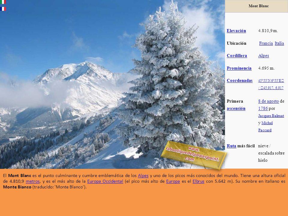 Los Alpes son una importante cadena de montañas situada en Europa central. Su cota culminante es el Mont Blanc, con 4.810 metros de altitud. Alrededor