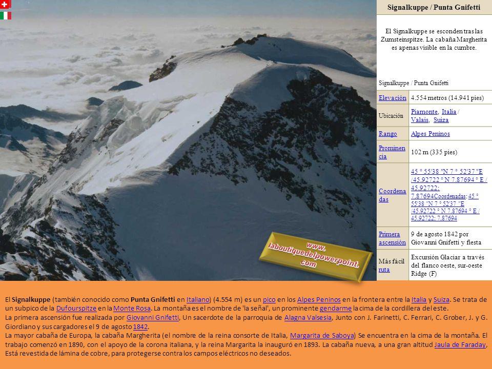 Zinalrothorn Elevación4.221 metros (13.848 pies) UbicaciónValaisValais, SuizaSuiza RangoAlpes Peninos Prominenc ia 490 m (1.608 pies) Coordenad as 46