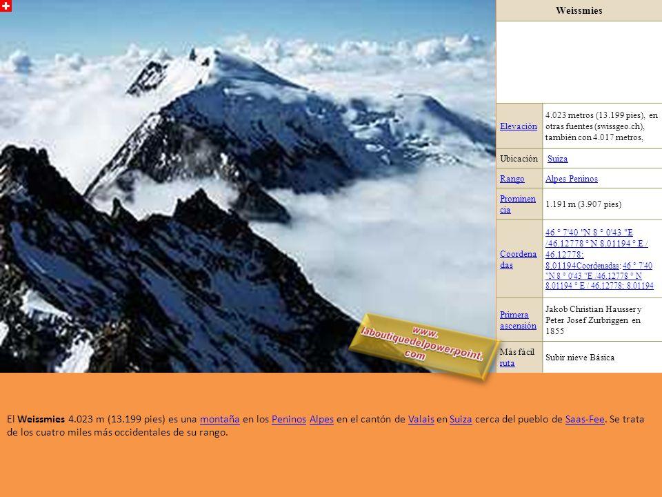 Alphubel Elevación4.206 metros (13.799 pies) Ubicación ValaisValais, SuizaSuiza RangoAlpes Peninos Prominen cia 355 m (1.165 pies) Coordena das 46 ° 3