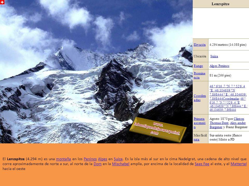 Weissmies Elevación 4.023 metros (13.199 pies), en otras fuentes (swissgeo.ch), también con 4.017 metros, Ubicación Suiza RangoAlpes Peninos Prominen